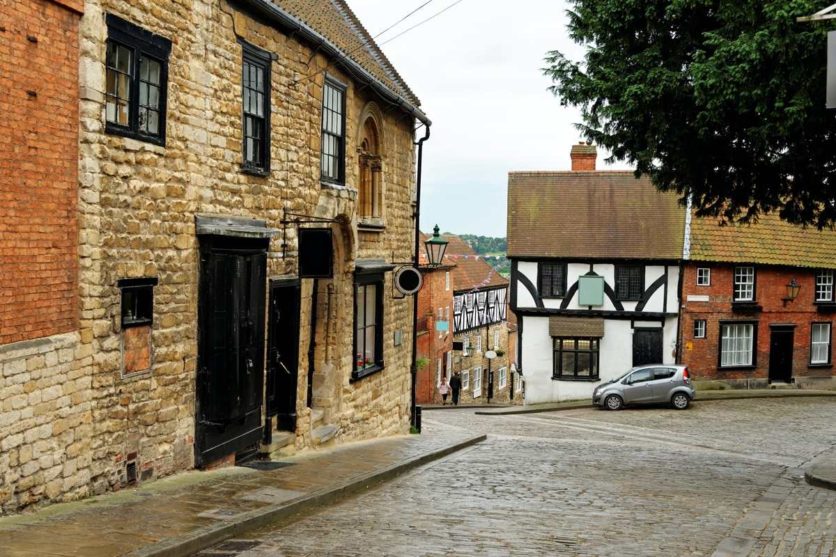 Steep Hill, a popular tourist street in the historic city of Lincoln, England.