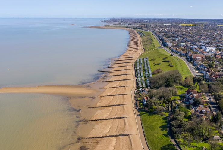 An aerial view of the seafront and beach at Whitstable.