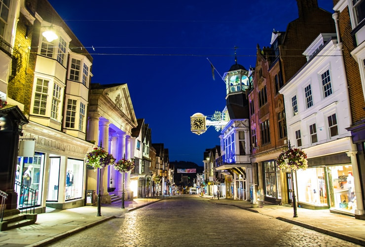 Guildford high street at night.