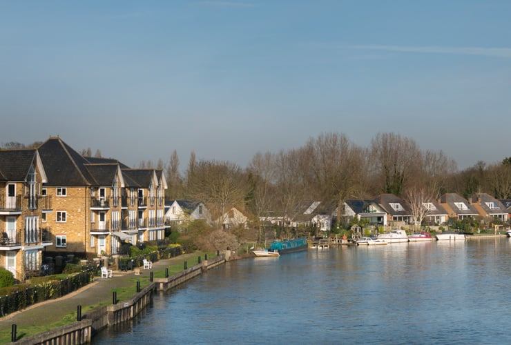 Residential houses along the River Thames at Walton-on-Thames.