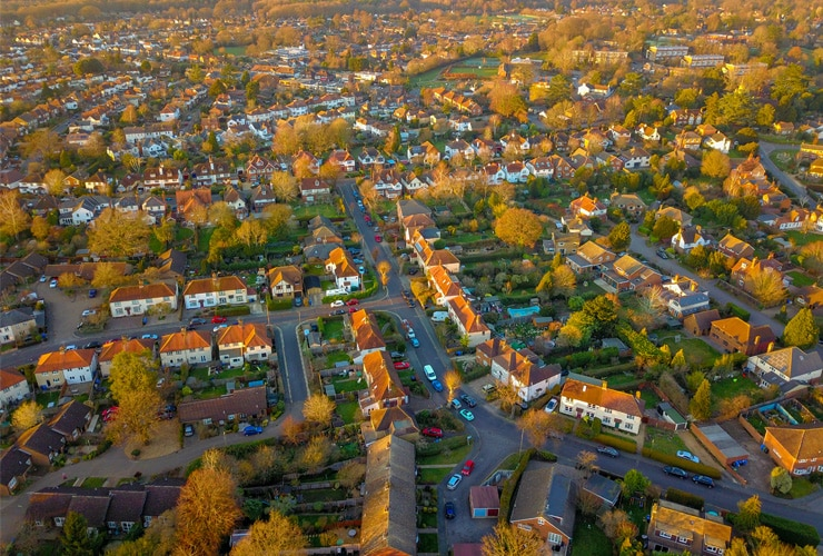 A aerial shot of a residential housing estate in Woking, Surrey.