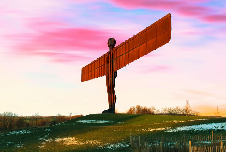 The Angle of the North. A large steel statue of an angel by by Antony Gormley.