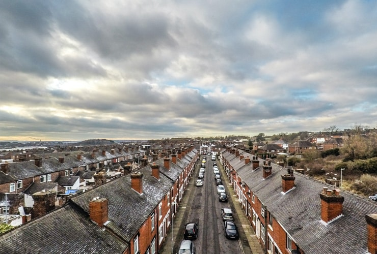 An aerial view of the rooftops of Fental in Hanley, Stoke-on-Trent.