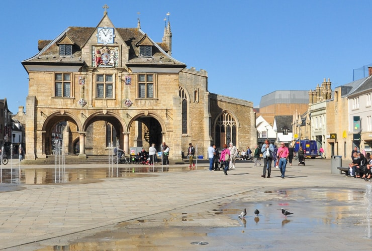 A view of Guildhall in Cathedral Square, Peterborough.