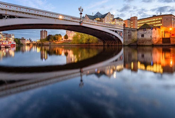 The reflection of Lendal Bridge in the River Ouse, York, UK.
