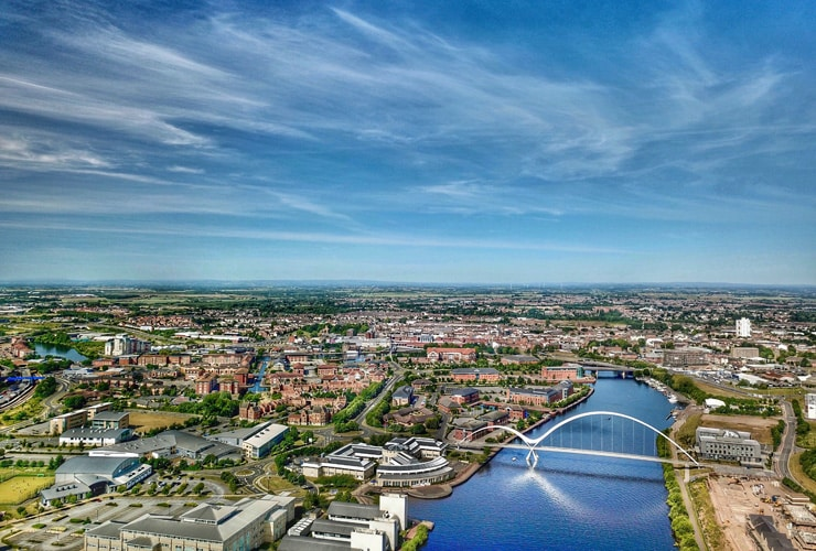 Aerial view of Stockton-on-Tees, Middlesbrough and the River Tees.