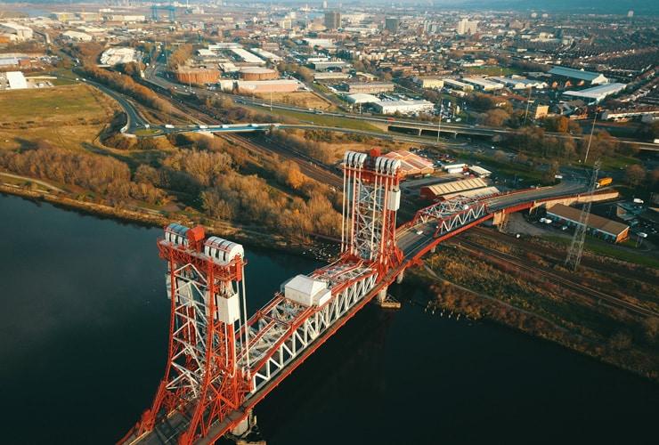 Aerial view of the Tees Newport Bridge in Middlesbrough, UK.