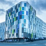 Tyne Student Living is low cost funded accommodation for students attending the University of Newcastle. Photo is of the front of the tower block building.