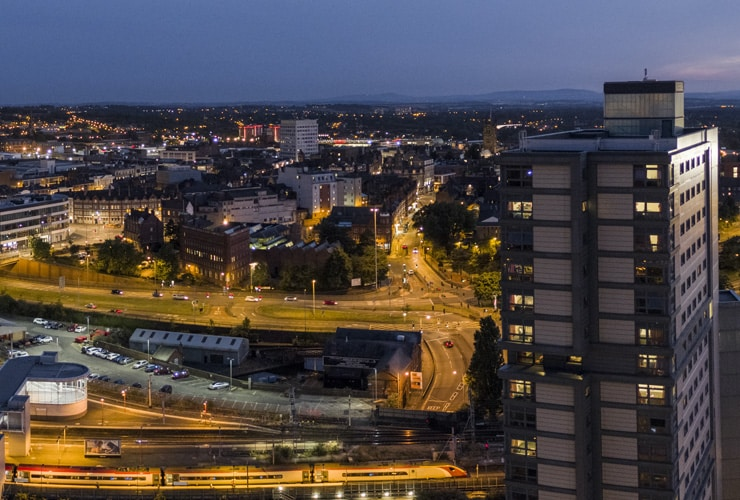 An aerial photograph of Wolverhampton at night.