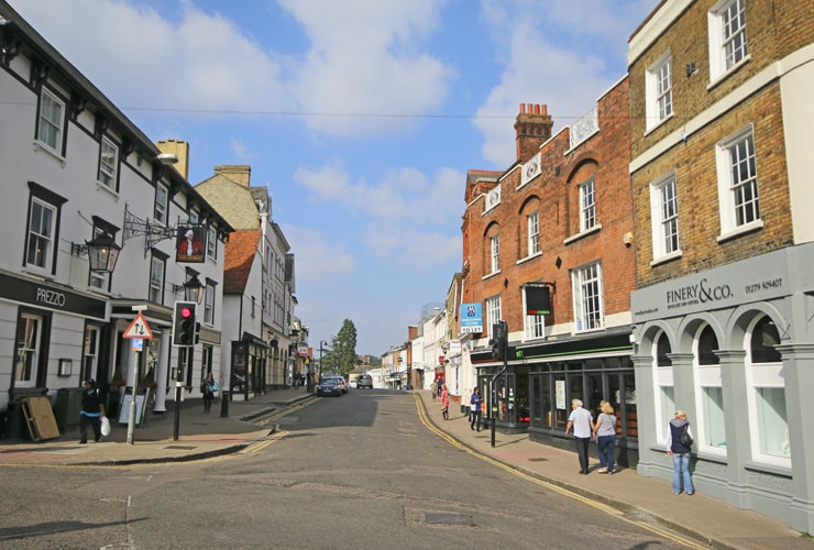 A shopping street in the middle of the historic market town of Bishop's Stortford in Hertfordshire.
