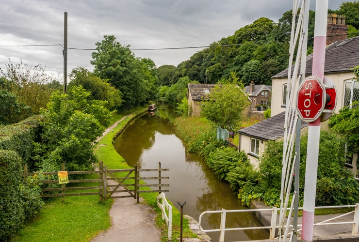 A swing bridge over a canal in Macclesfield, Cheshire, UK.