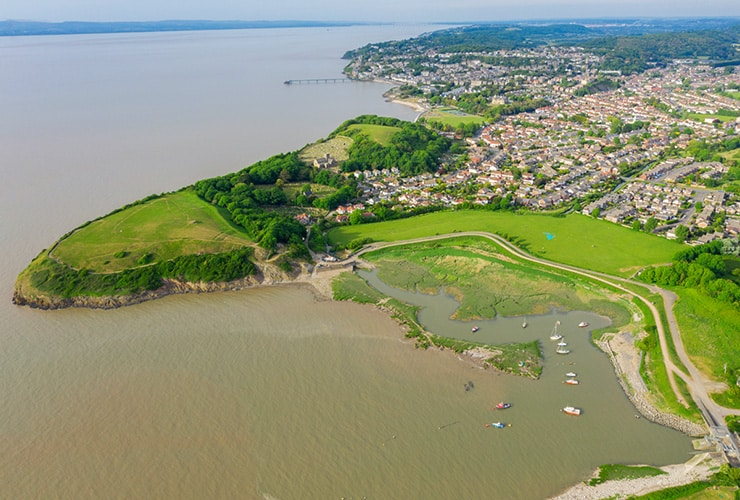 An aerial view of Clevedon, a seaside town in Somerset.
