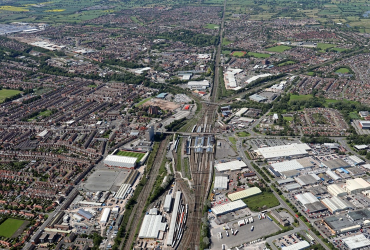 An aerial view of Crewe town centre in Cheshire.