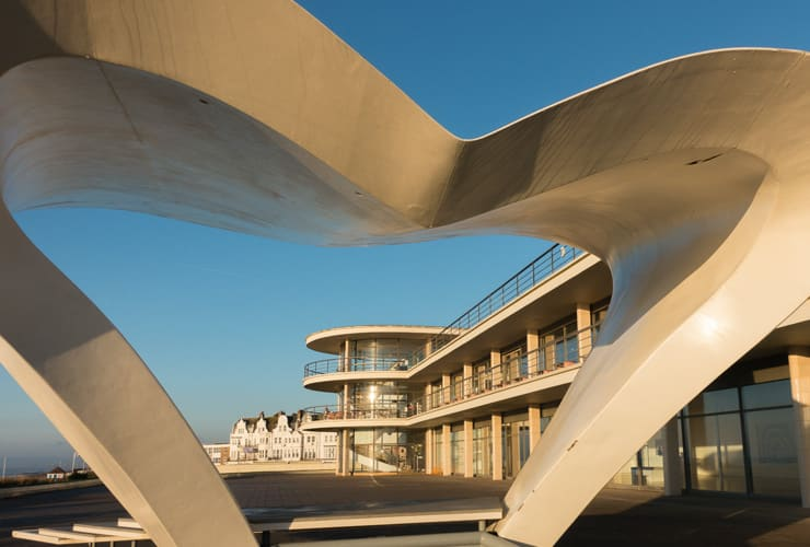 The iconic art deco seafront building of De La Warr Pavilion in Bexhill on Sea viewed through the heart shaped stage.