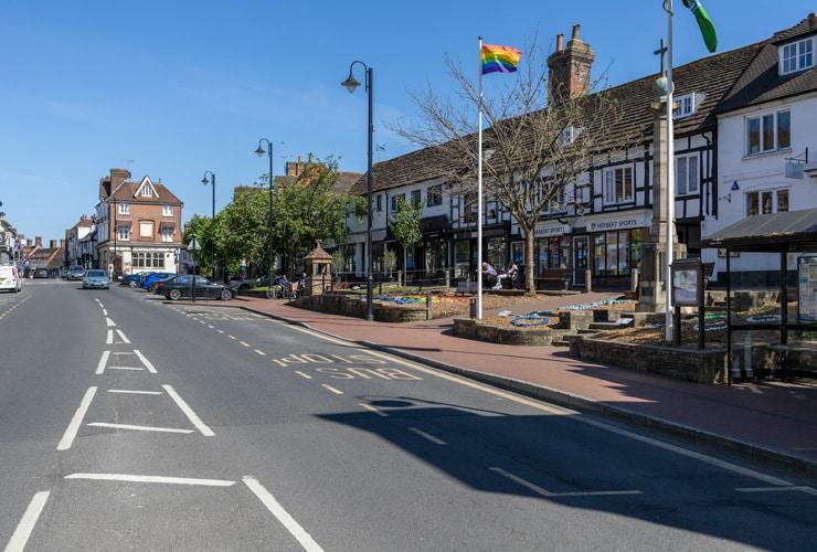 A main street running through East Grinstead.
