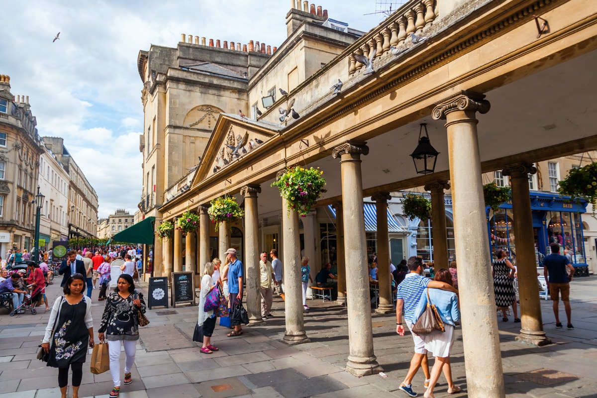 Outside the Grand Pump Room in Bath, a historic Grade I listed building.