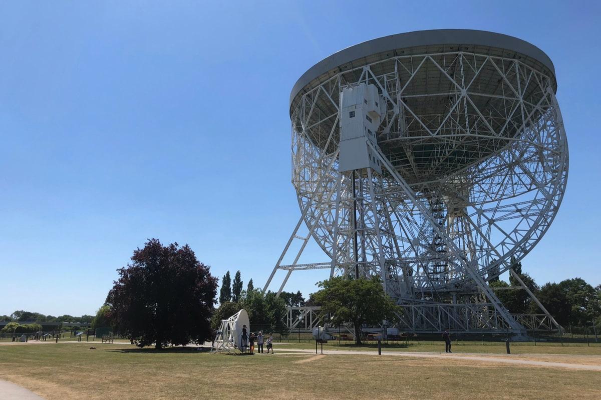Jodrell Bank, the world's third largest steerable radio telescope.