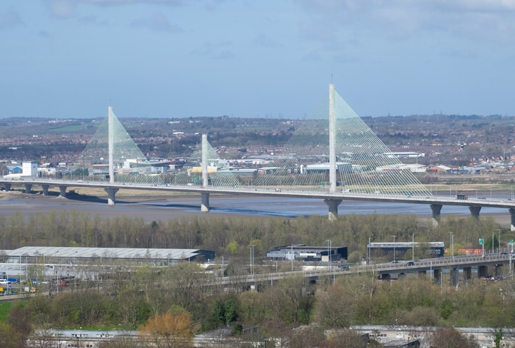 Mersey Gateway Bridge, a cable-stayed bridge over the River Mersey between Runcorn and Widnes, UK.