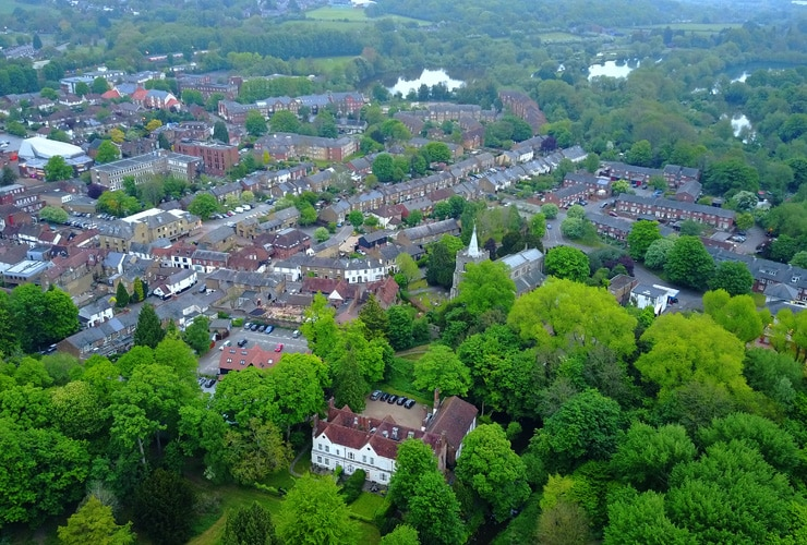 An aerial view of the leafy village of Rickmansworth, Hertfordshire.