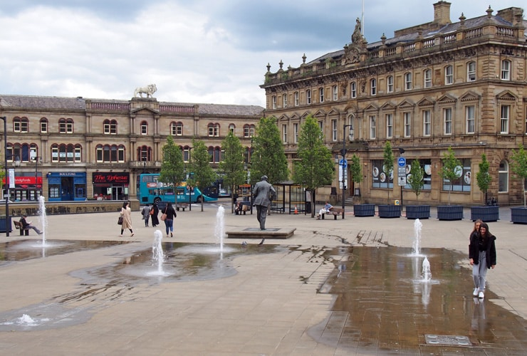 Fountains in St. George's Square in the centre of Huddersfield.
