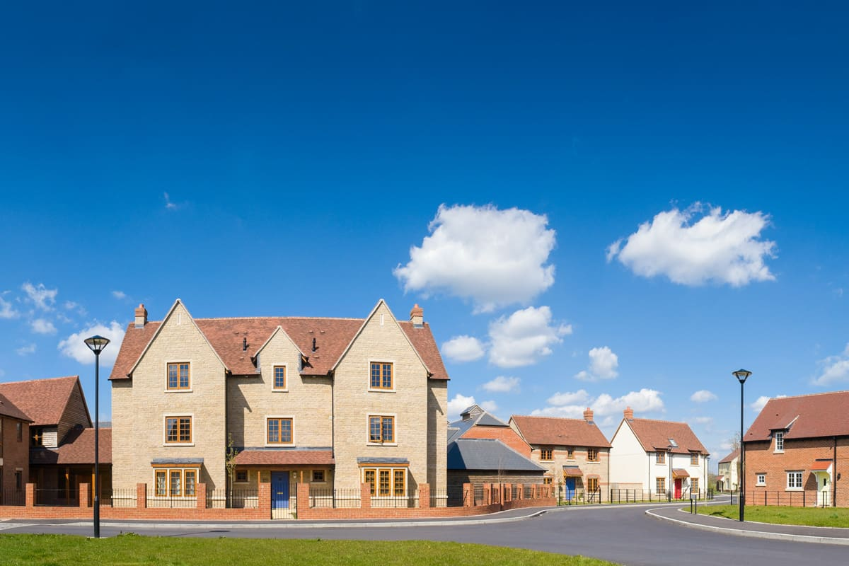 Affordable new-build housing on a UK residential housing estate.