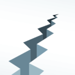 A simple graphic showing a jagged crack in the ground. Icon represents a house sale falling through.