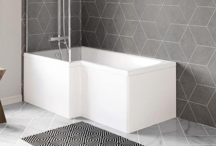 An L-shaped bath