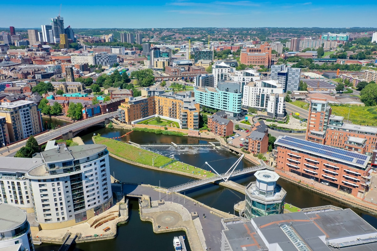 Aerial View of Leeds city centre and Leeds Dock.