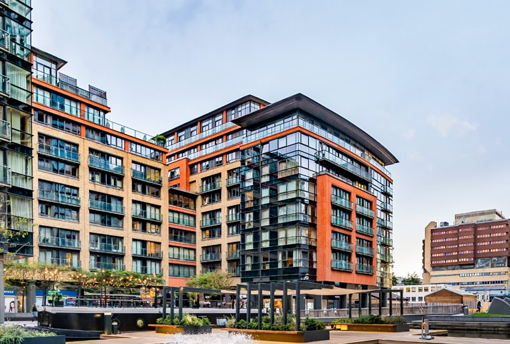 Merchant Square East Modern apartment buildings residential area with floating pocket park.
