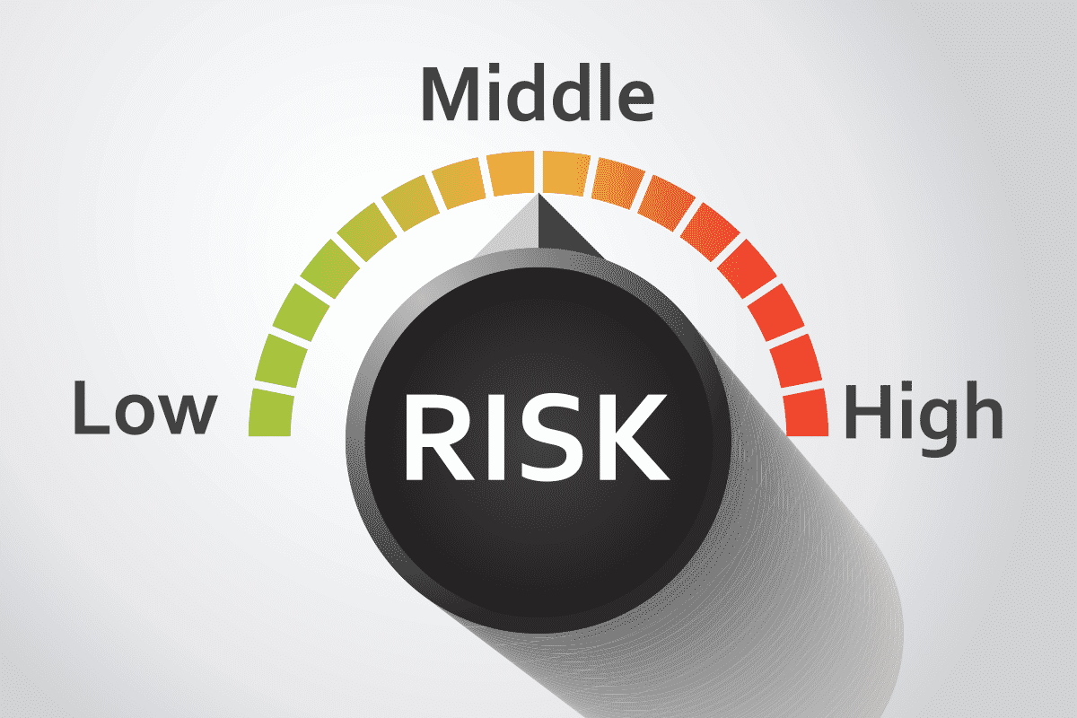 A graphic of a dial saying risk with a range from low, to middle, to high.