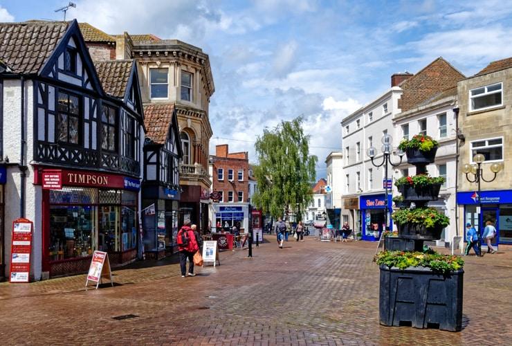 Trowbridge high street. The town centre of Trowbridge.