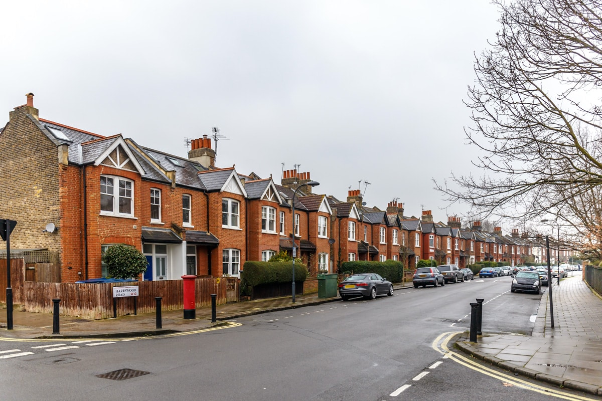 A typical British residential street in Chiswick.