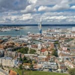 An aerial photograph of Portsmouth in Hampshire, UK.