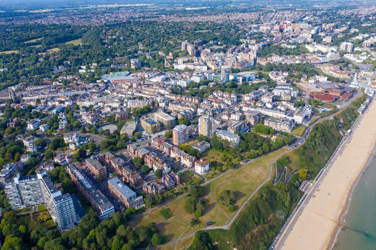An aerial view of Bournemouth beach and town centre.