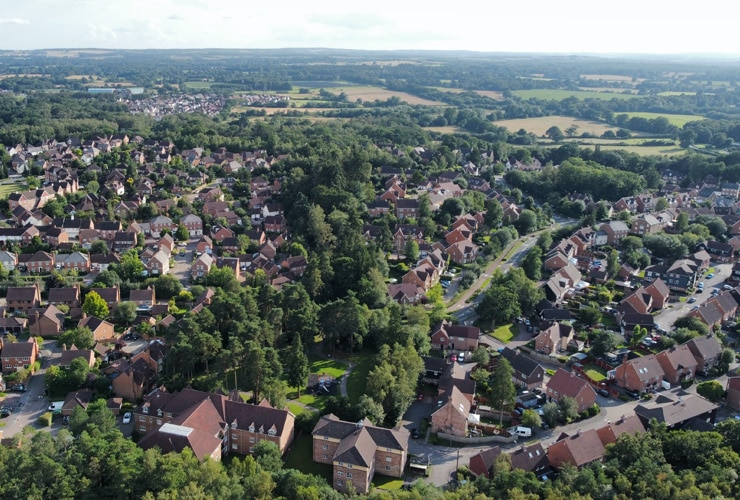 Aerial view of Elvetham Heath in Fleet, Hampshire.