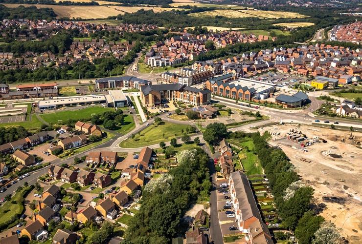 Aerial view of Telford Lawley and Dawley Bank.