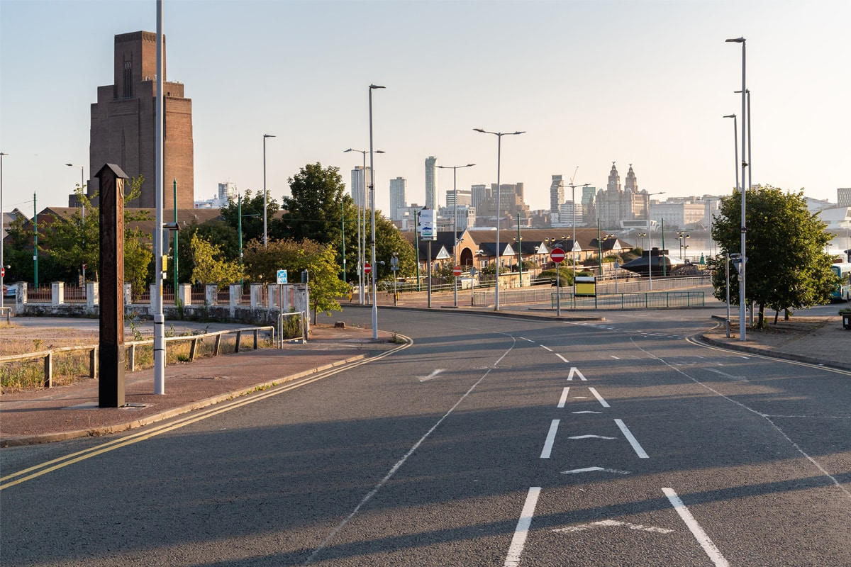 Hamilton Street, Birkenhead, looking towards Woodside ferry terminal, with Liverpool waterfront buildings in the distance.