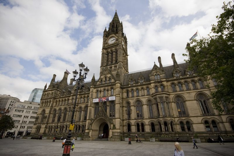 A view of the fron of Manchester Town Hall.