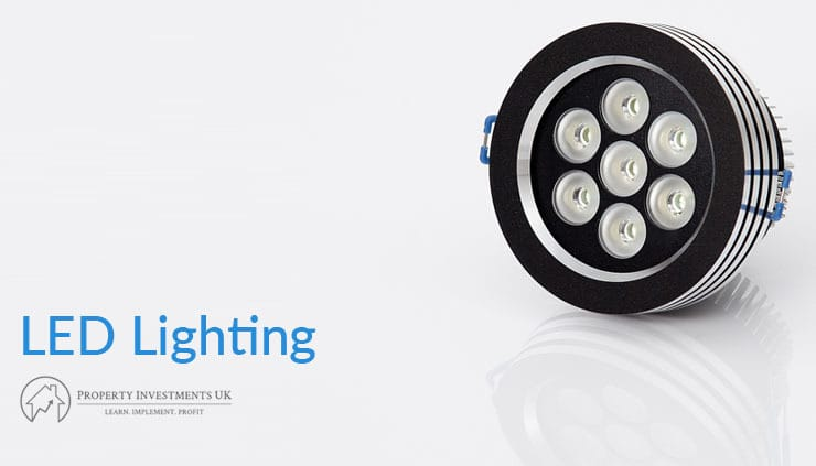 """A close up of an LED light with text that say """"LED Lighting""""."""
