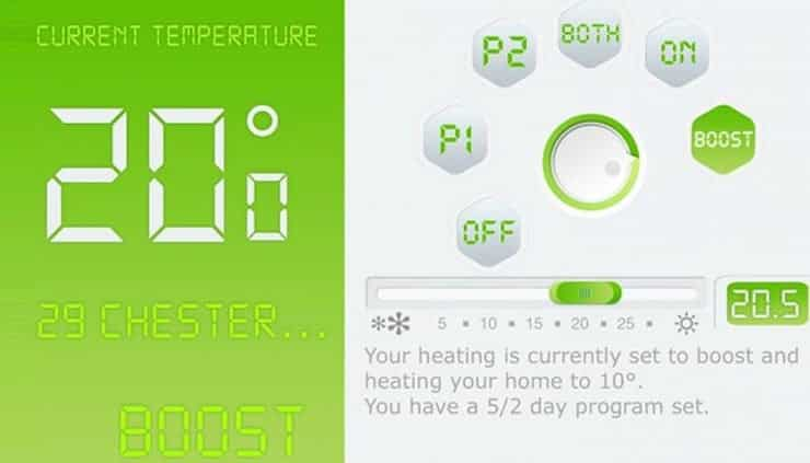 An image of the interface of the Insprire thermostat.