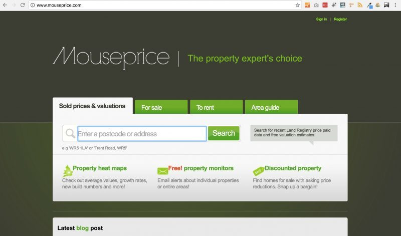 A screenshot of the homepage for Mouseprice