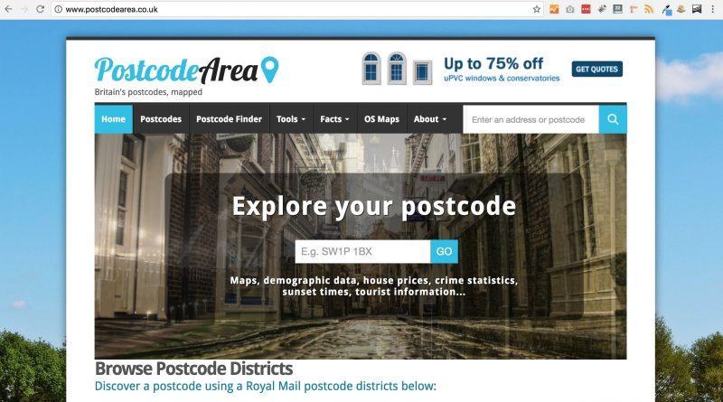 A screenshot of the homepage of postcodearea.co.uk