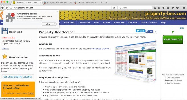 property bee home page and installation