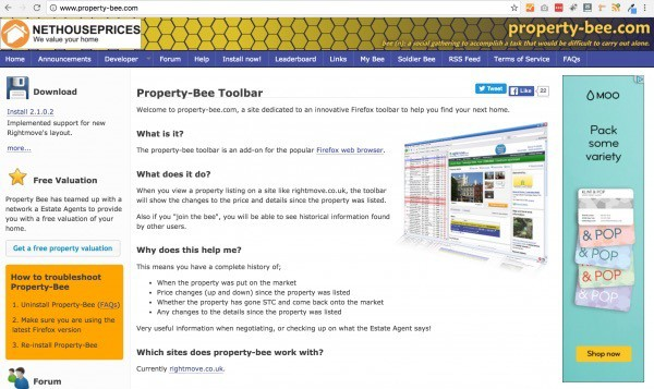 property bee for firefox and rightmove - home page screen shot