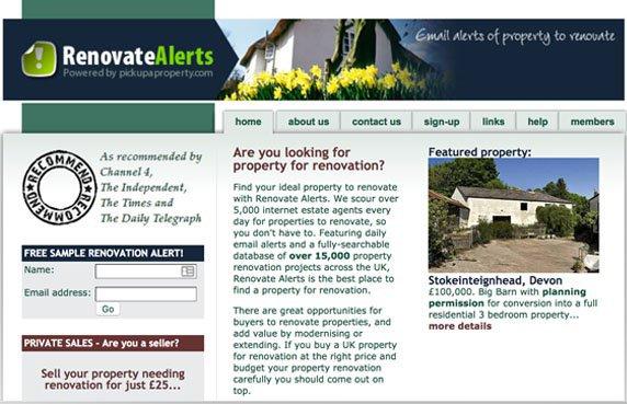 A screenshot of the Renovate Alerts website