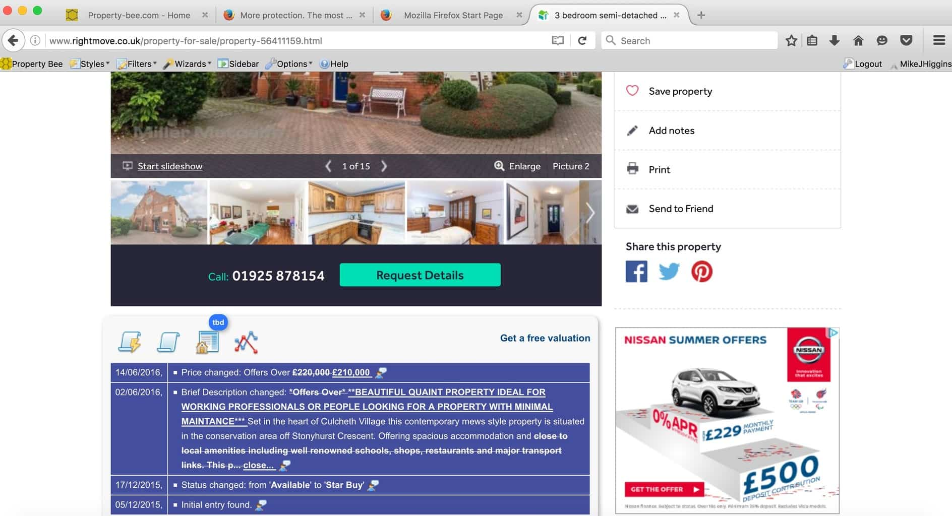 property bee in action on rightmove