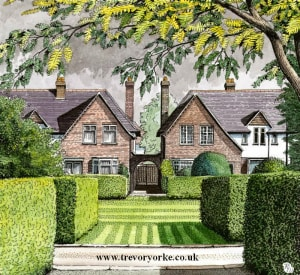 A drawing of two houses from the 1920s set around a green. Image by Trevor Yorke