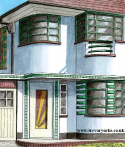 A drawing of a 1930s UK Art Deco Semi-Detached house. Image by Trevor Yorke