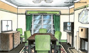 Drawing of a typical Art Deco style dining room. Image by Trevor Yorke