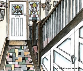 Drawing of a typical Art Deco hallway. Image by Trevor Yorke